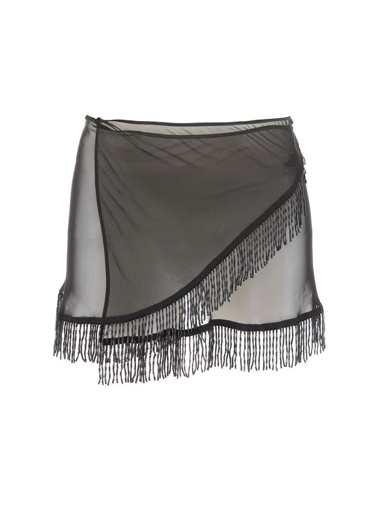 Oseree Pearls Collection Mini Skirt - BLACK (Black)