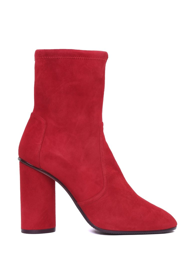 Stuart Weitzman Margot 95 Stretch-suede Sock Boots - Rosso
