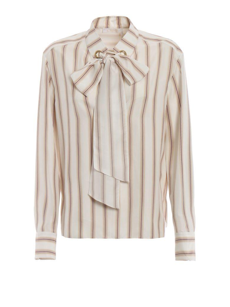 Chloé Stripe Print Shirt - 95f Beige Brown