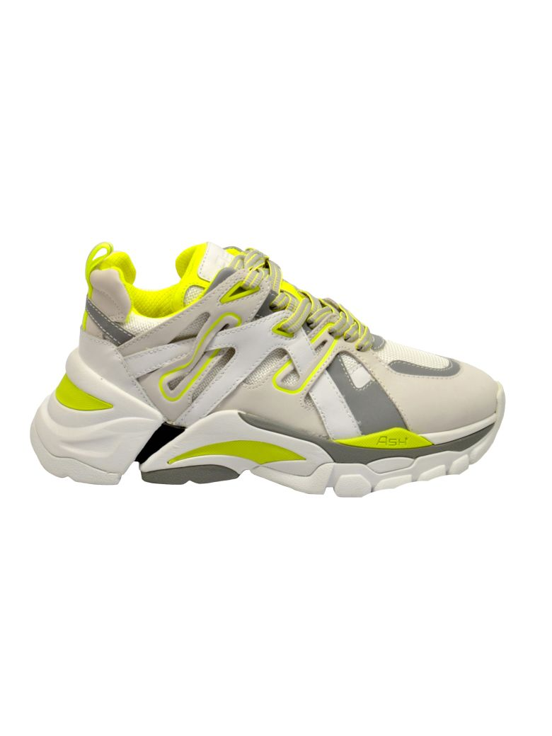 Ash Logo Patch Sneakers - WHITE YELLOW FLUO
