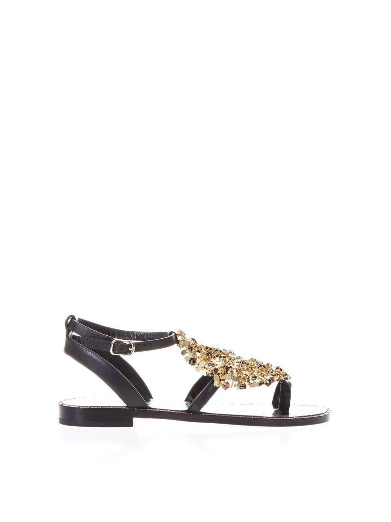 Lola Cruz Luanda Ii Black Leather Sandals - Black