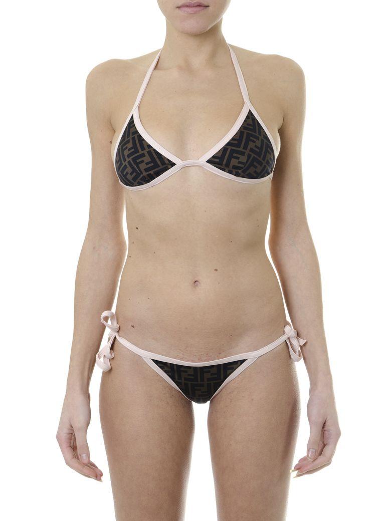 Fendi Reversible Logo Bikini - White/tobacco