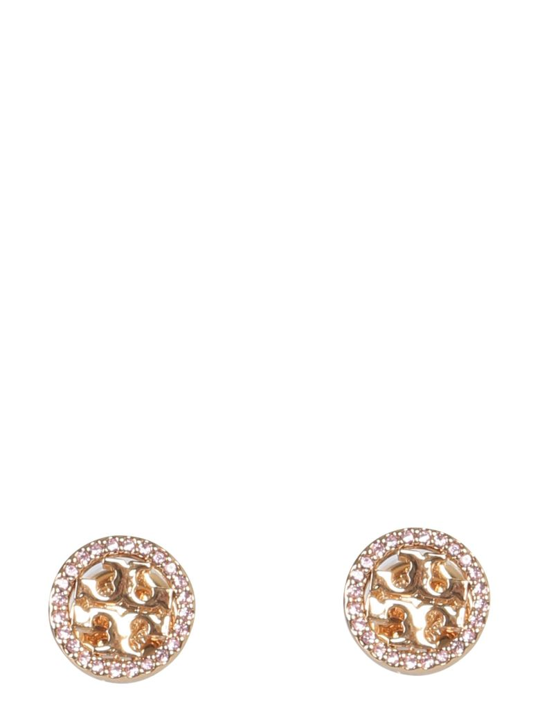 Tory Burch Circle-stud Crystal Logo Earrings - ORO