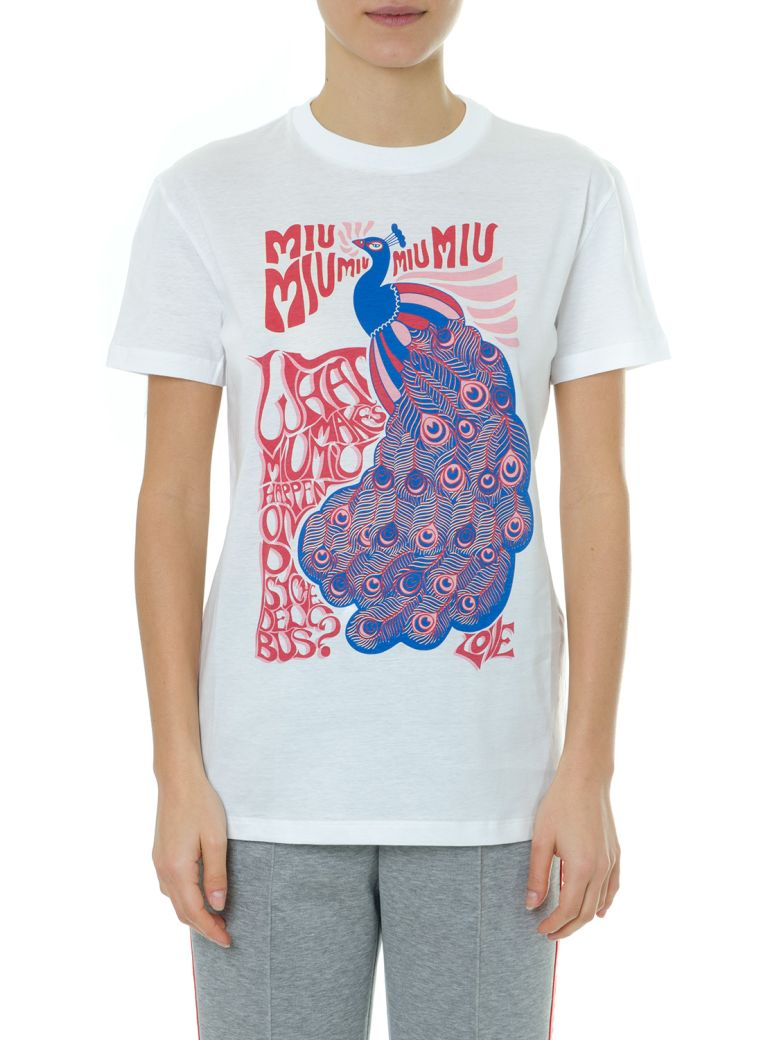Miu Miu White Printed T-shirt In Cotton Jersey - White/multicolor