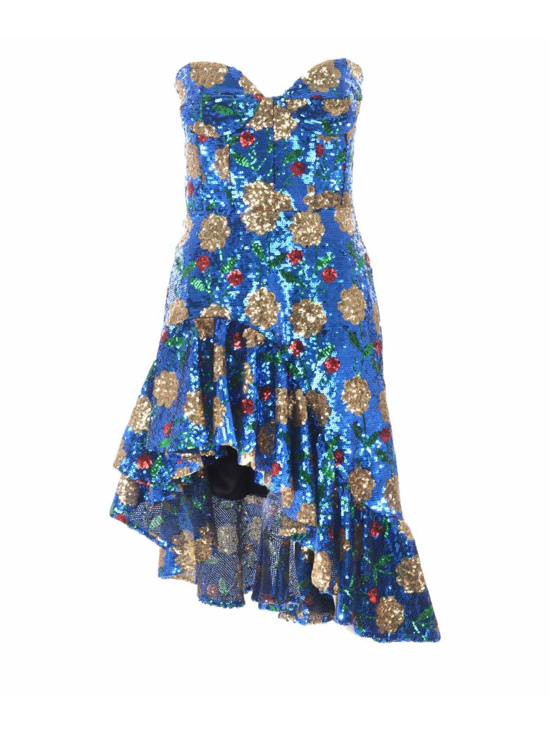 Giuseppe di Morabito Floral Sequin Dress - Blu/oro