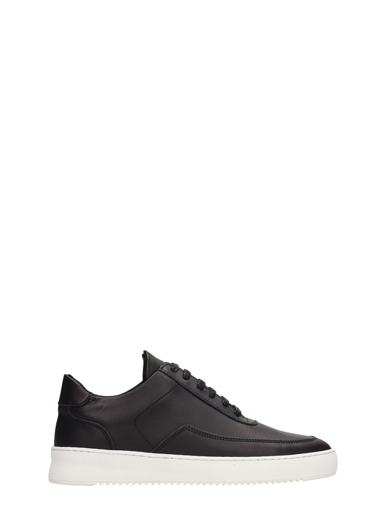 Filling Pieces Black Leather Low Mondo Ripple Sneakers - Black