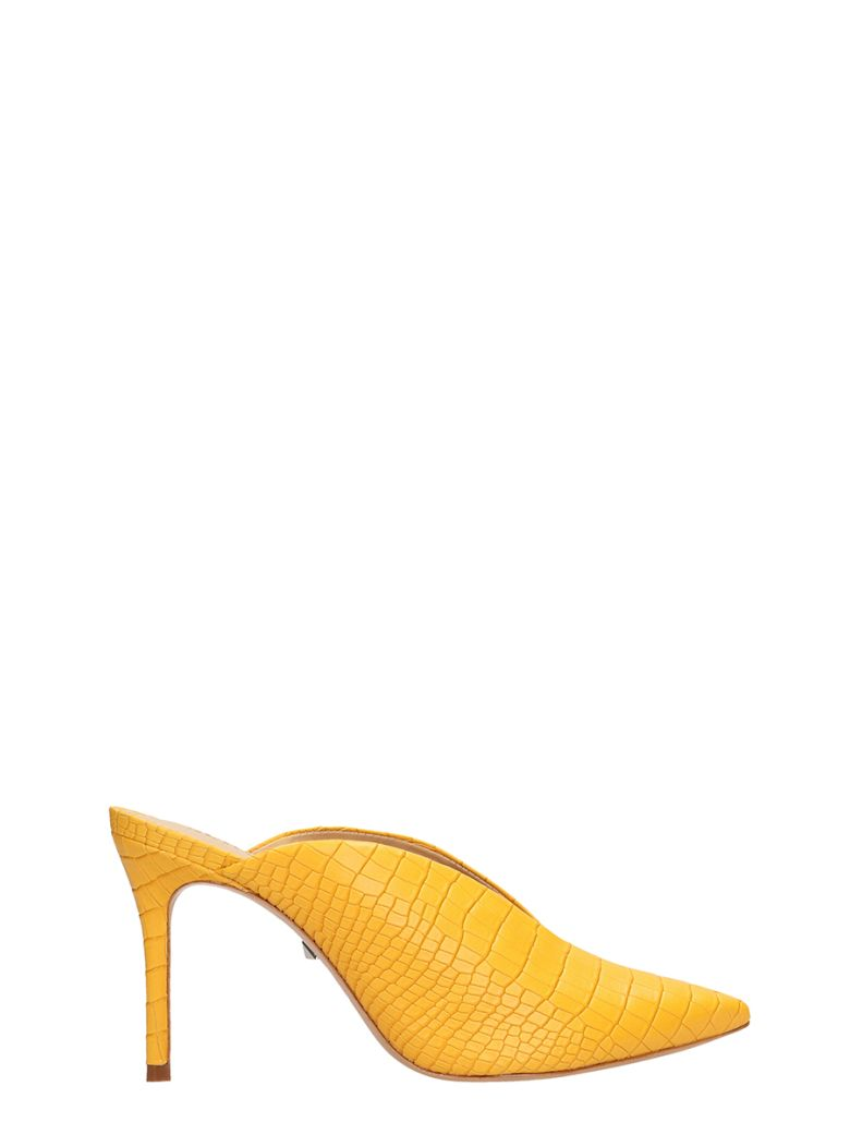 Schutz Cocco Print Yellow Leather Mules - yellow