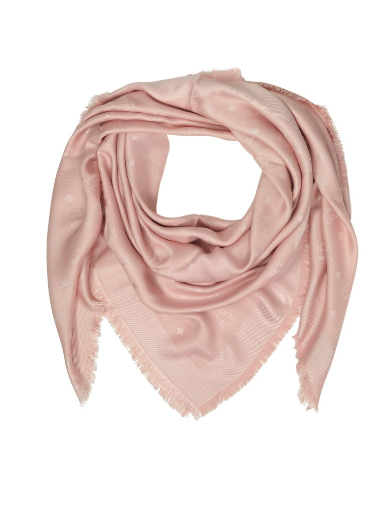 MCM Pink Signature Jacquard Wool And Silk Wrap - Pink