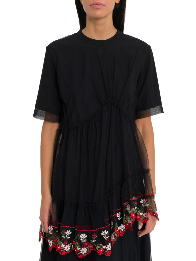 Simone Rocha T-shirt With Embroidered Tulle Drape - Nero