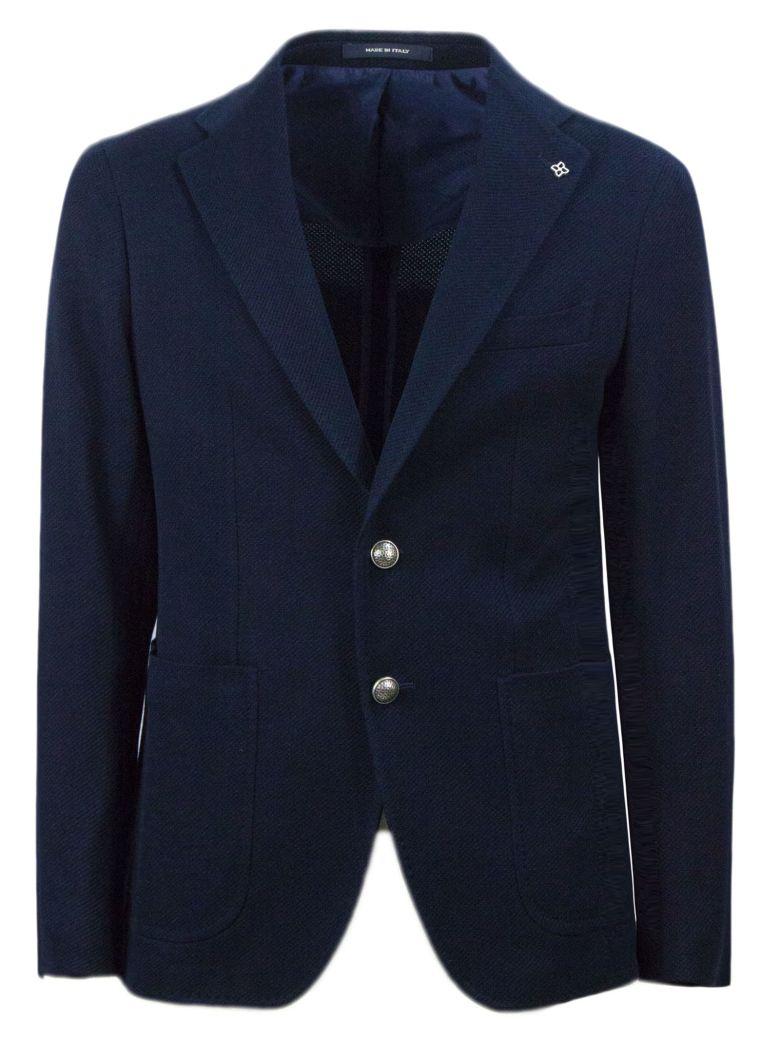 Tagliatore Blue Cotton Blend Blazer - Blu