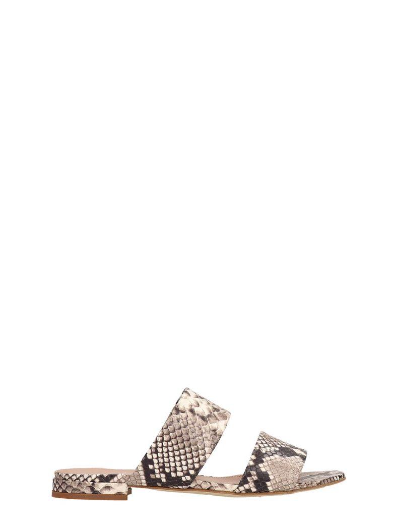 Julie Dee Beige Print Snake Leather Flat Sandals - Gray