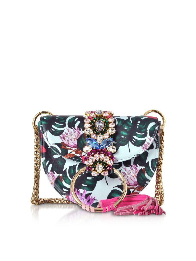 Gedebe Brigitte Azure Tropical Flower Shoulder Bag - Light Blue