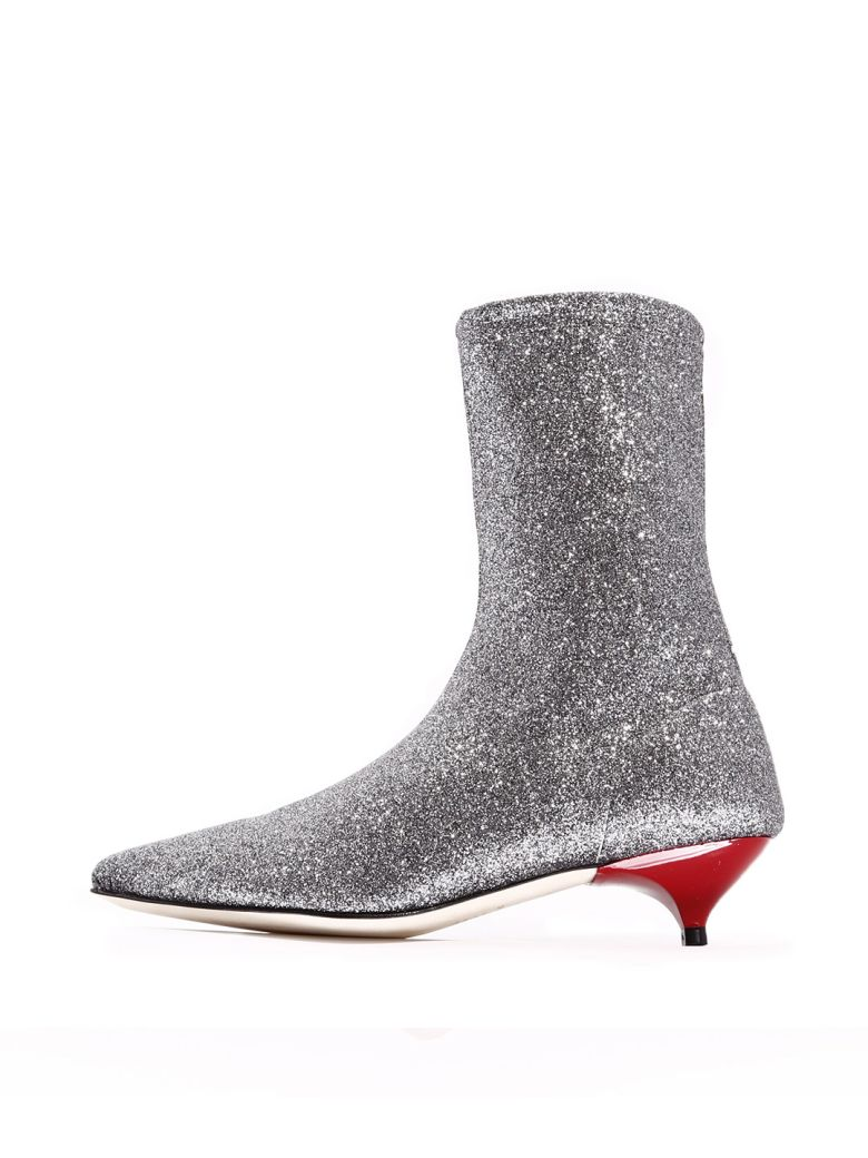 GIA COUTURE Ankle Boot Silver Stretch - Silver