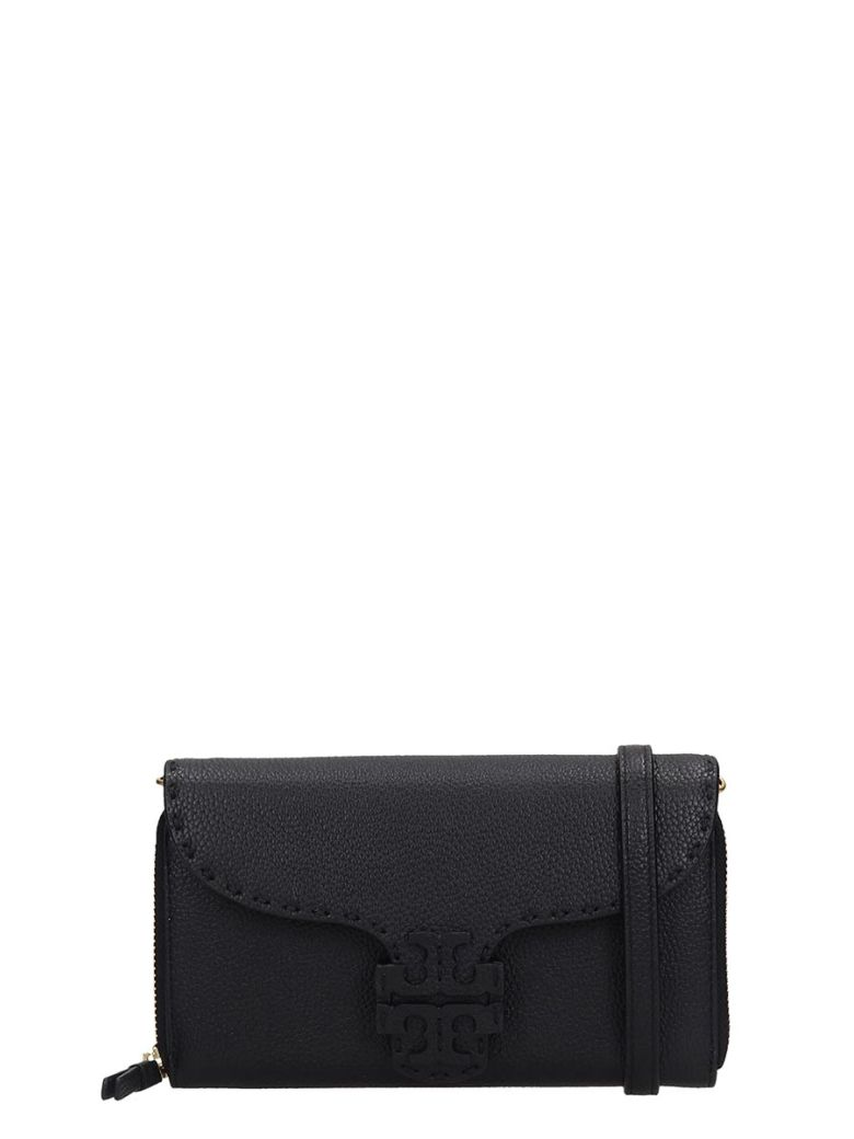 Tory Burch Mcgraw Wallet Clutch In Black Leather - black