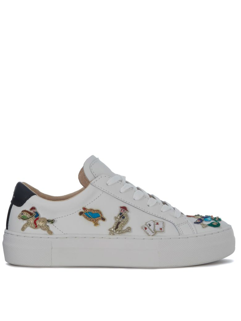 M.O.A. master of arts Moa Circus White Leather Sneakers With Embroidery - BIANCO