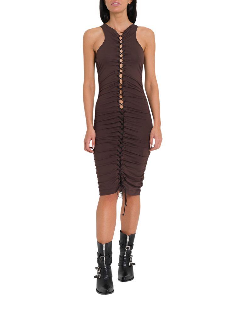 Ben Taverniti Unravel Project Gathered Lace-up Midi Dress - Brown