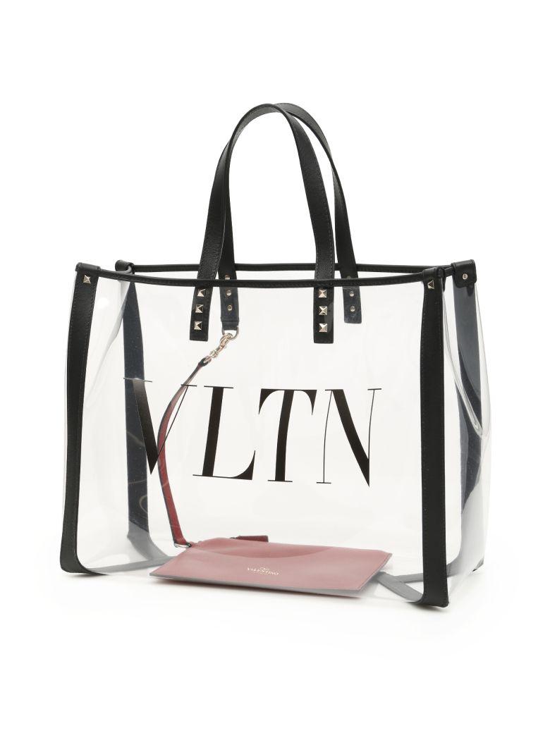 Valentino Large Plexi Vltn Shopper - TRASPARENTE NERO NERO (Black)