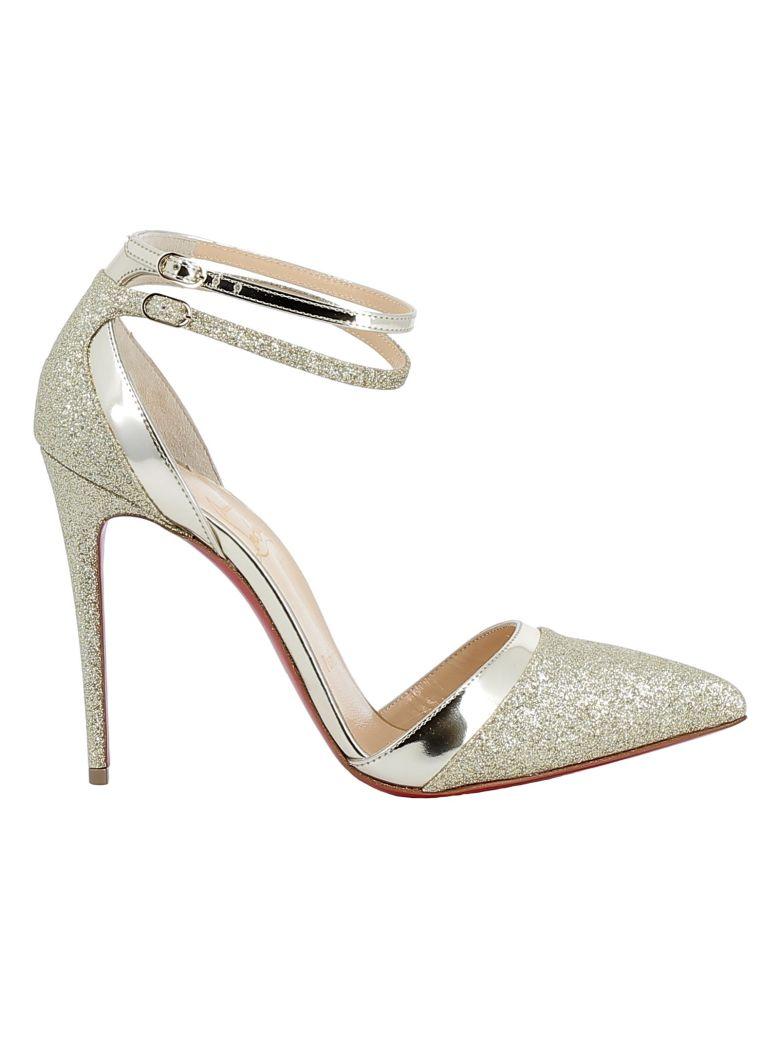 Christian Louboutin Platine/gold Glitter Sandals - GOLD