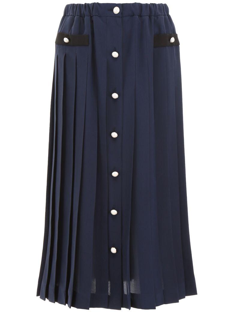 Miu Miu Pleated Silk Skirt - BLEU Blu