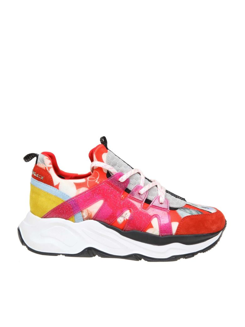Philipp Plein Sneakers Runner In Neoprene With Floral Printing - Red
