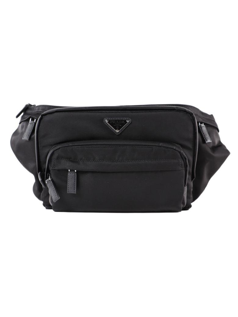 Prada Logo Patched Belt Bag - Nero