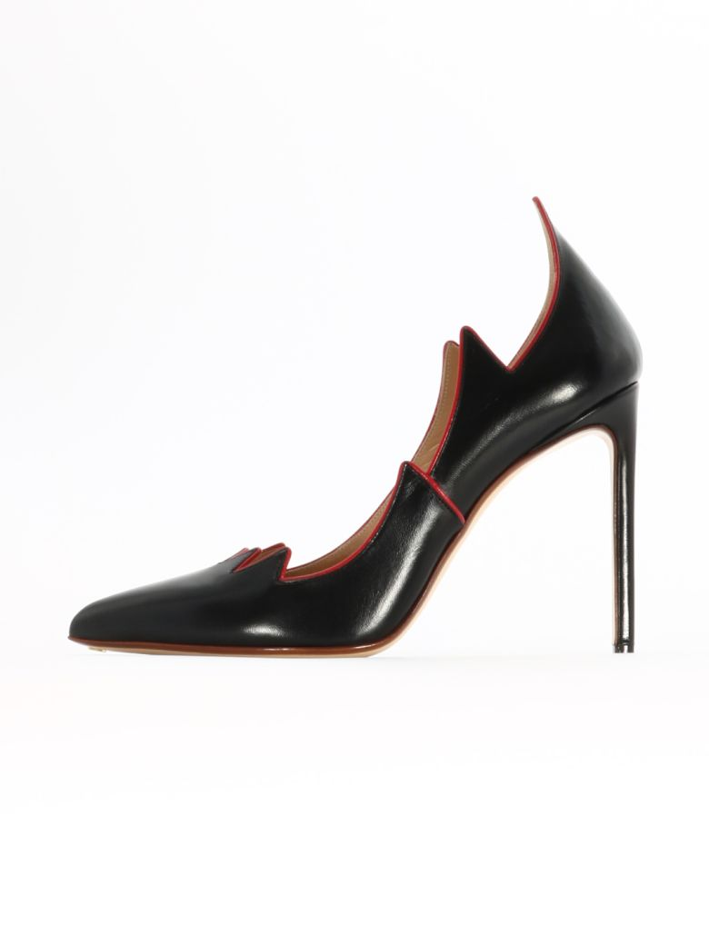 Francesco Russo Black Leather Flame Pump - Black/red