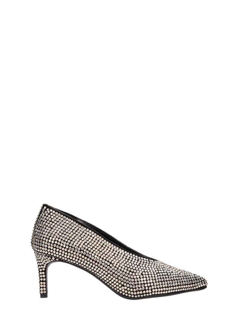 Lola Cruz Black Leather Decollete Accollato Toe - silver