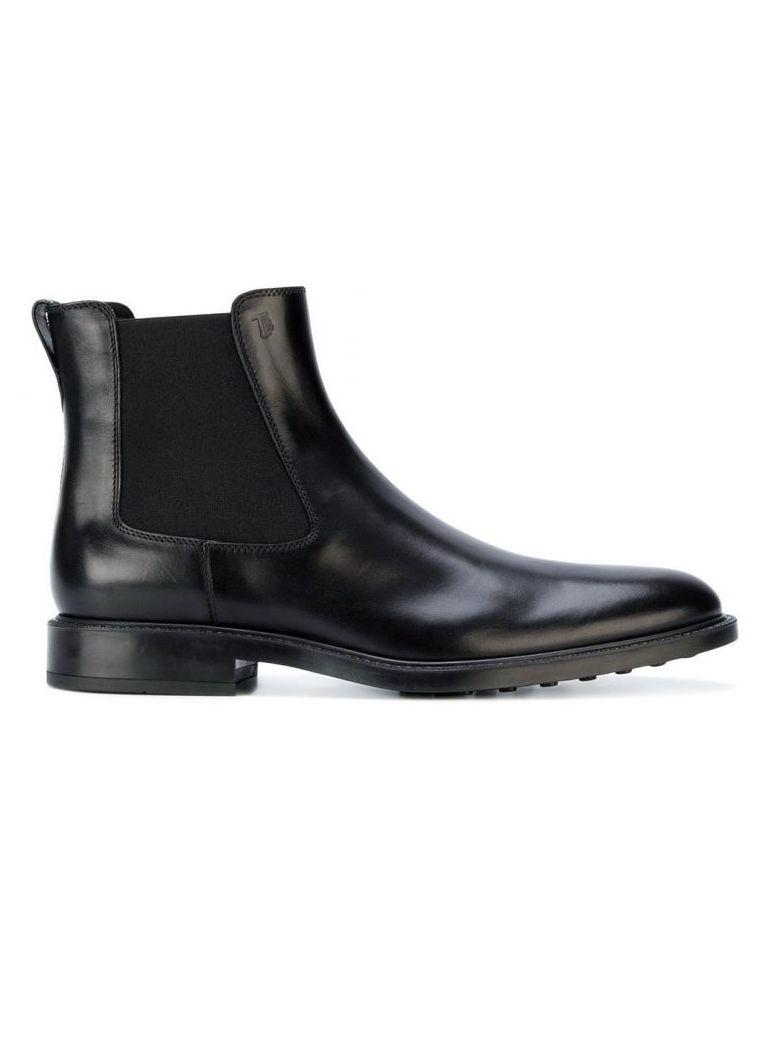 Tod's Black Leather Slip-on Booties - Black