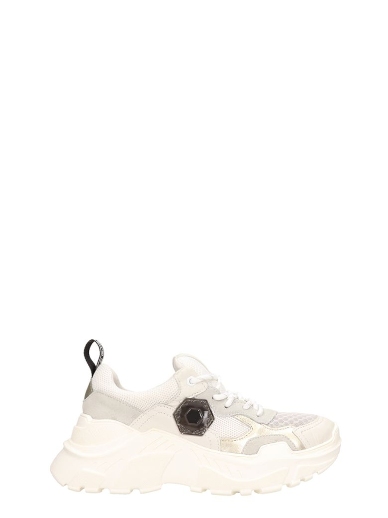 M.O.A. master of arts Grey-white Suede And Fabric Runnig Kar Sneakers - grey