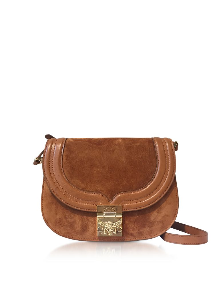 MCM Trisha Cognac Suede And Leather Small Shoulder Bag - Brown