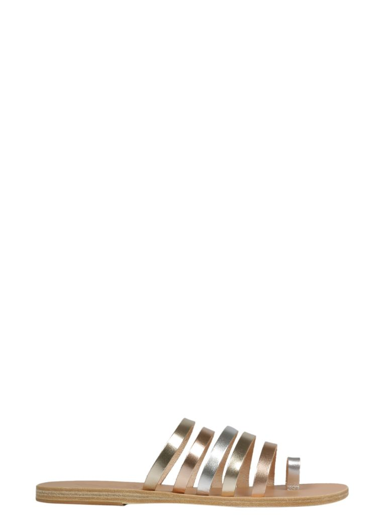 Ancient Greek Sandals Niki Sliders - Pink Metal Silver