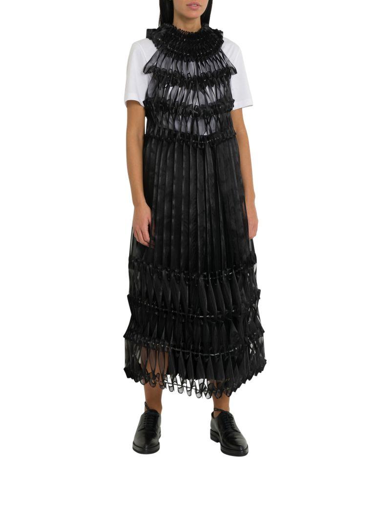 Noir Kei Ninomiya Pleated Ribbon-detail Crepe Midi Dress - Nero