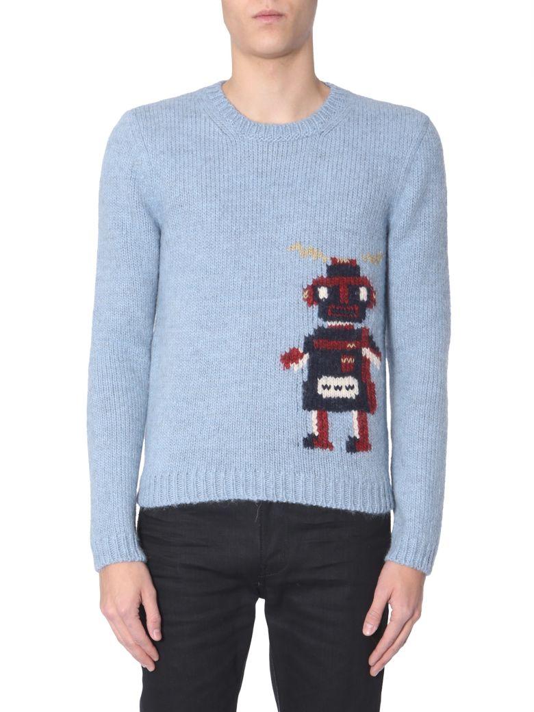 Saint Laurent Crew Neck Sweater - AZZURRO