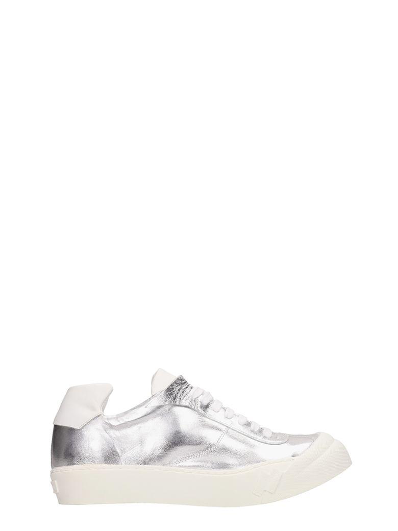 Cinzia Araia Metal Silver Leather Sneakers - silver