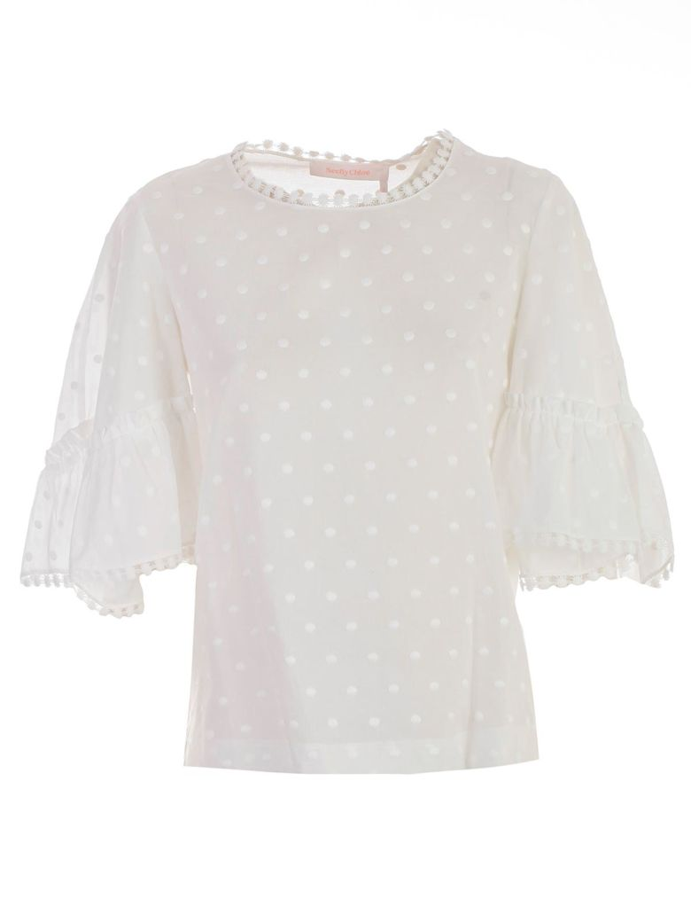 See by Chloé See By Chloé Dot Embroidered Blouse - White
