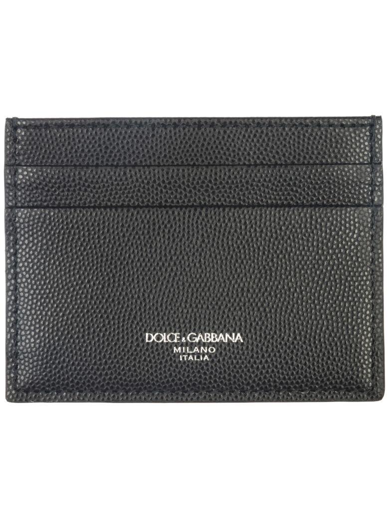 Dolce & Gabbana  Genuine Leather Credit Card Case Holder Wallet - Black