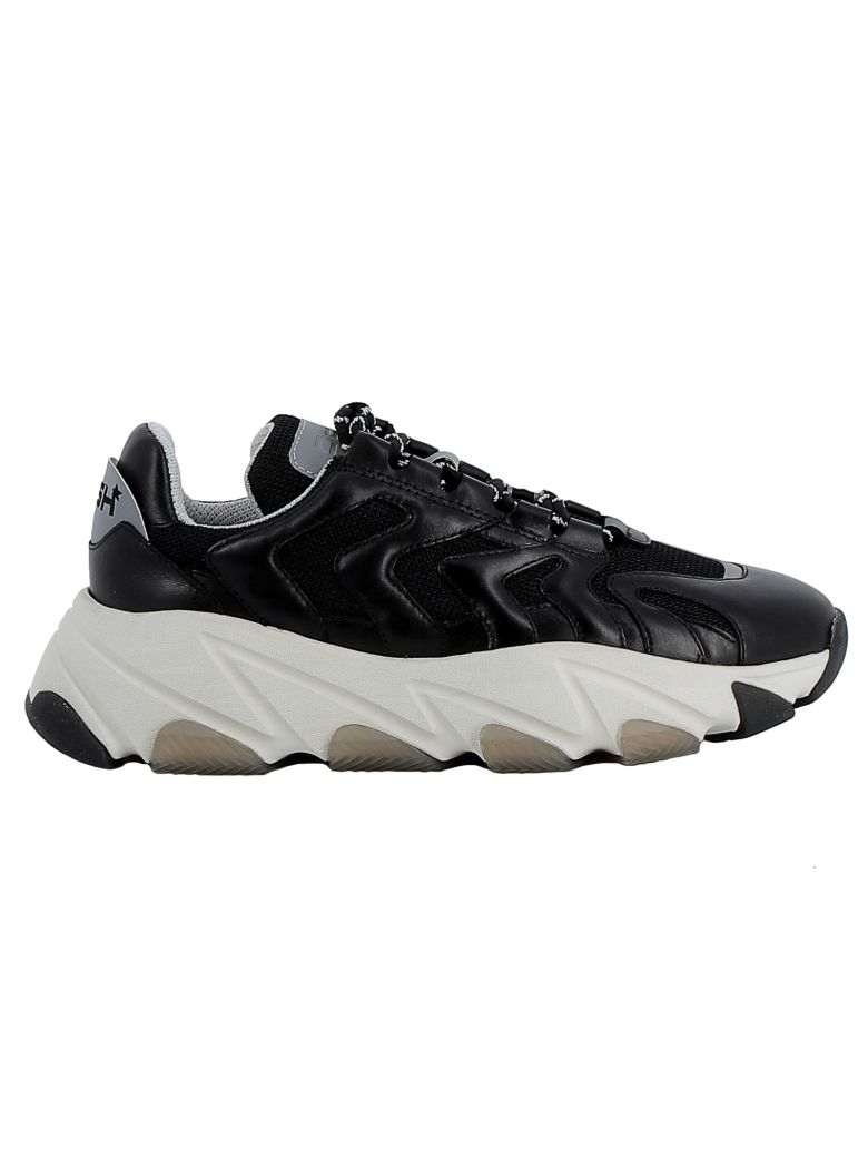 Ash Black Leather/fabric Sneakers - BLACK