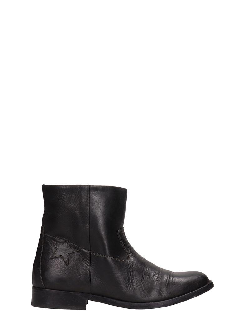 Golden Goose King Black Calf Leather Ankle Boots - black