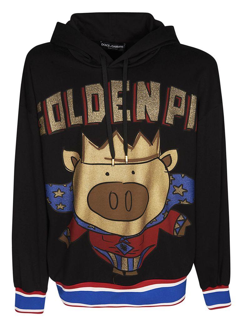 Dolce & Gabbana Golden Pig Hoodie - Black