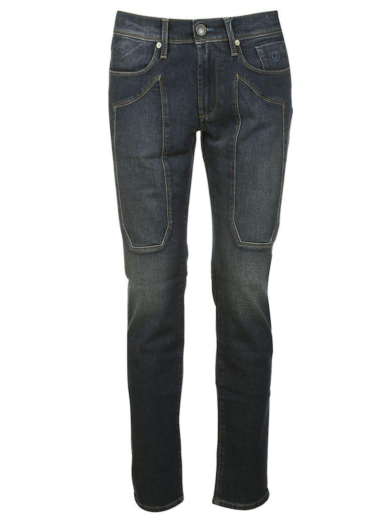 Jeckerson Patched Detail Fit-slim Jeans - BLUE-BLACK