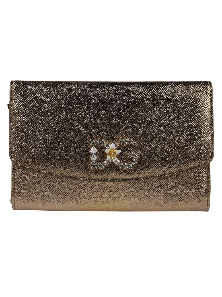 Dolce & Gabbana Embellished Dg Shoulder Bag - Gold