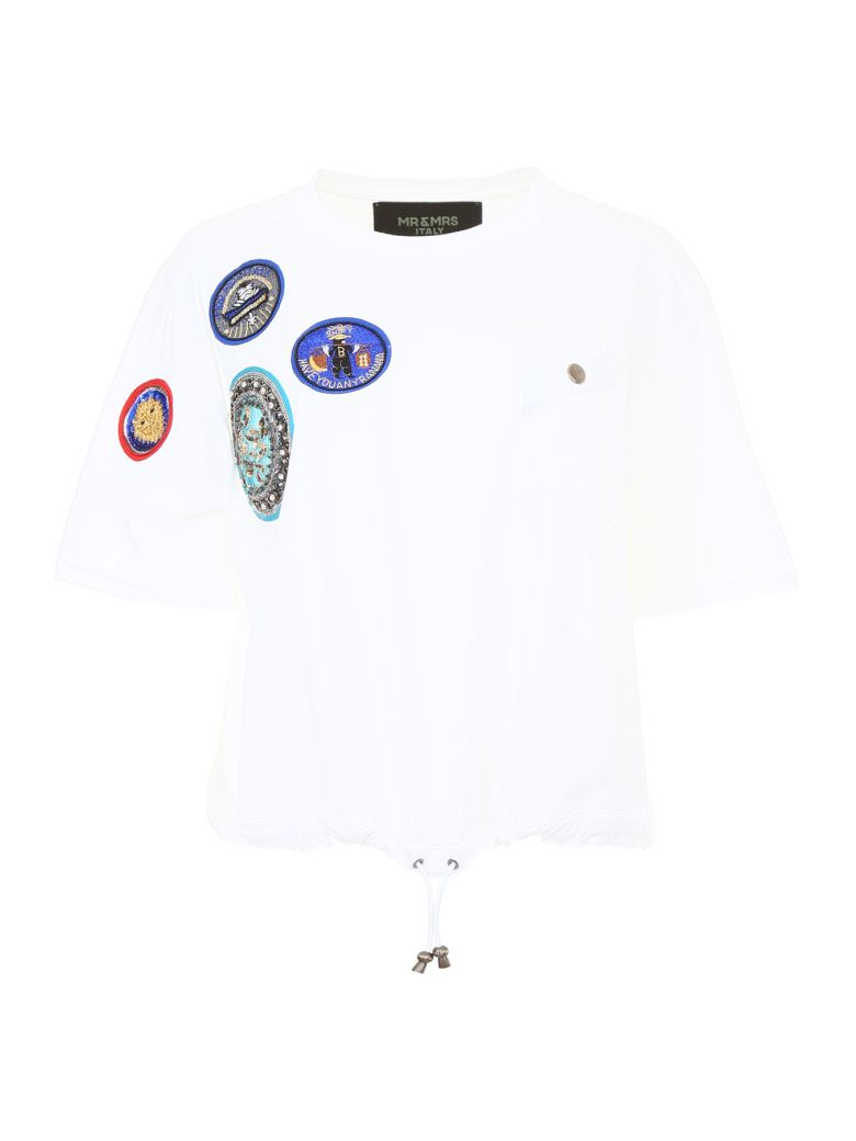 Mr & Mrs Italy T-shirt With Patches - IVORY|Bianco