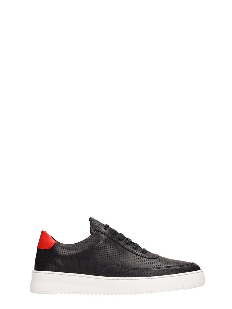 Filling Pieces Low Mondo Ripple Black Leather Sneakers - Black
