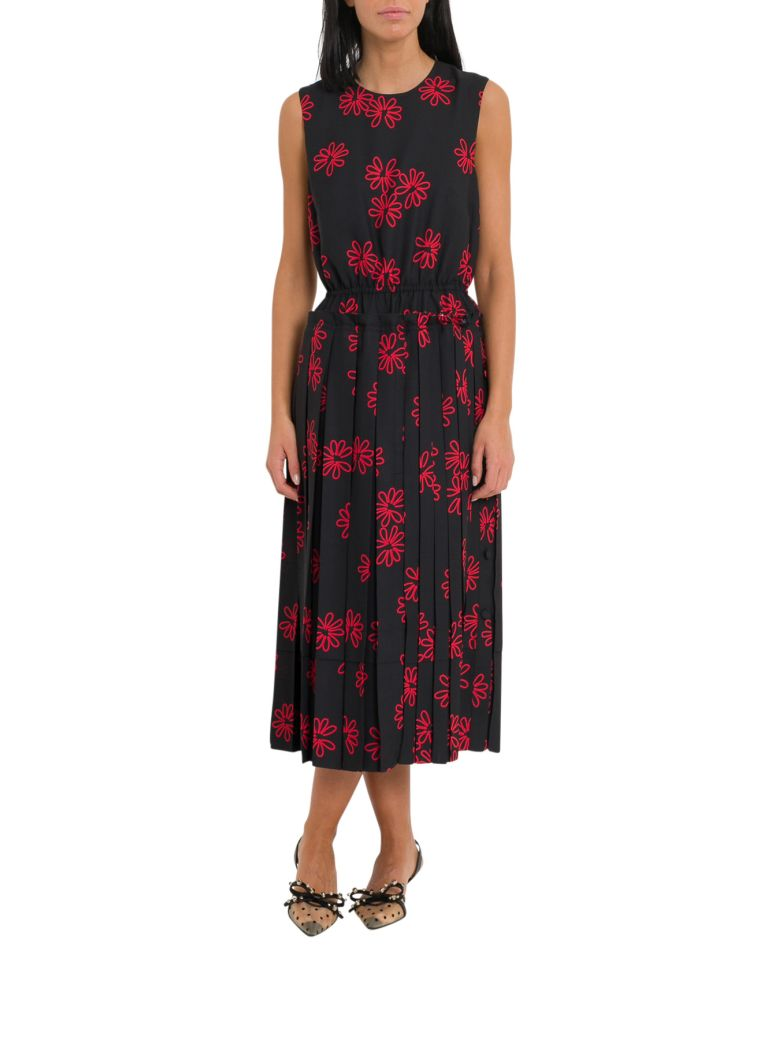 Simone Rocha Floral Print Dress With Pleated Skirt - Nero