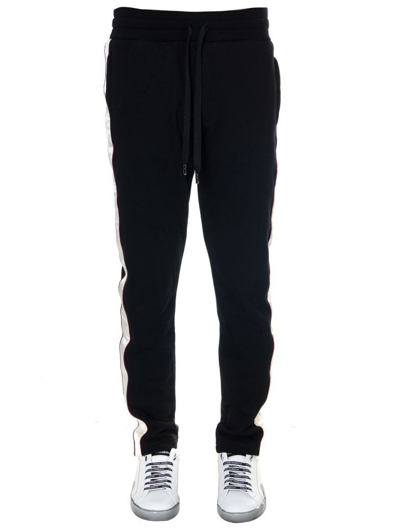 Dolce & Gabbana Black Cotton Sport Lateral Banded Pants - Black