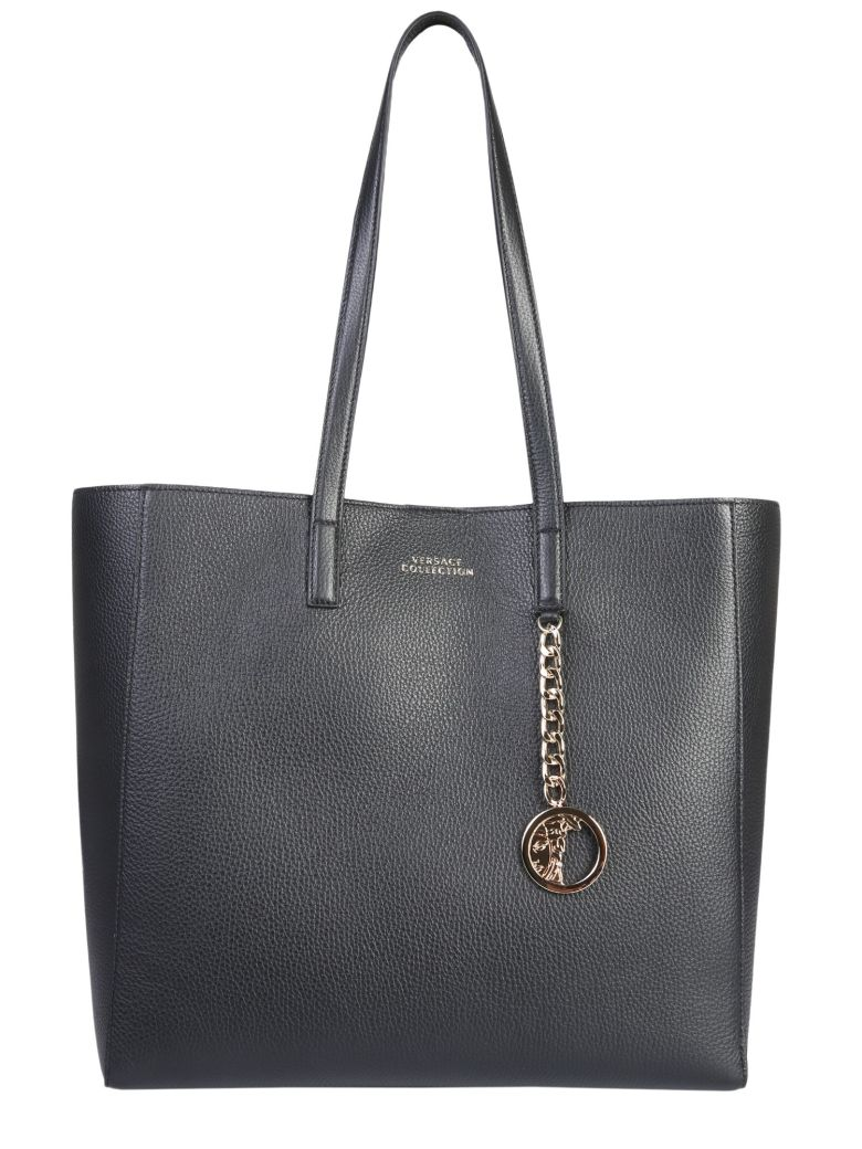 Versace Collection Tote Bag With Medusa Charm - NERO