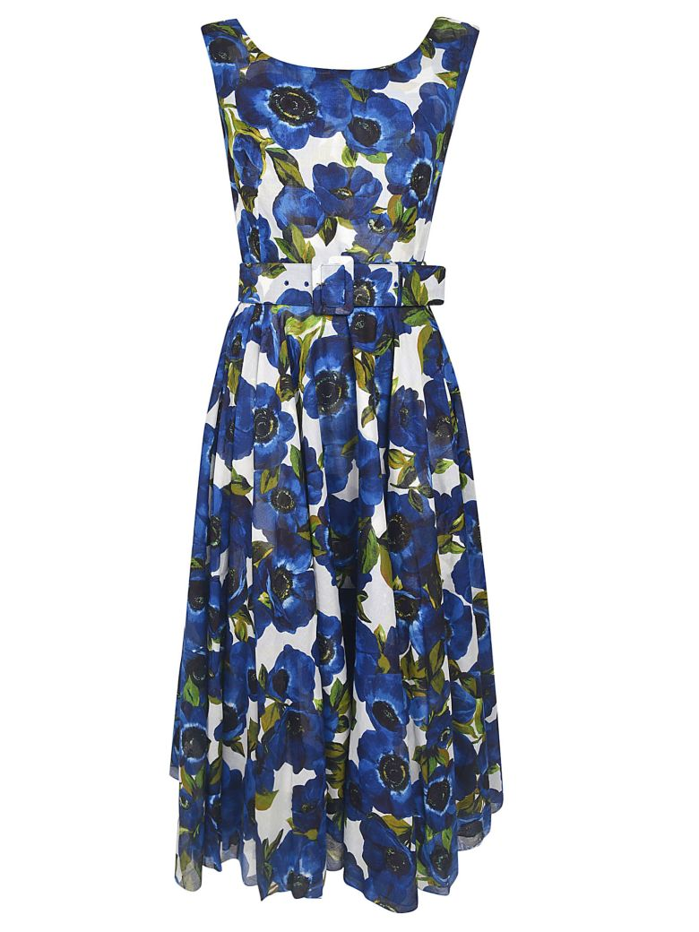 Samantha Sung Aster Floral Print Sleeveless Dress - White/Blue