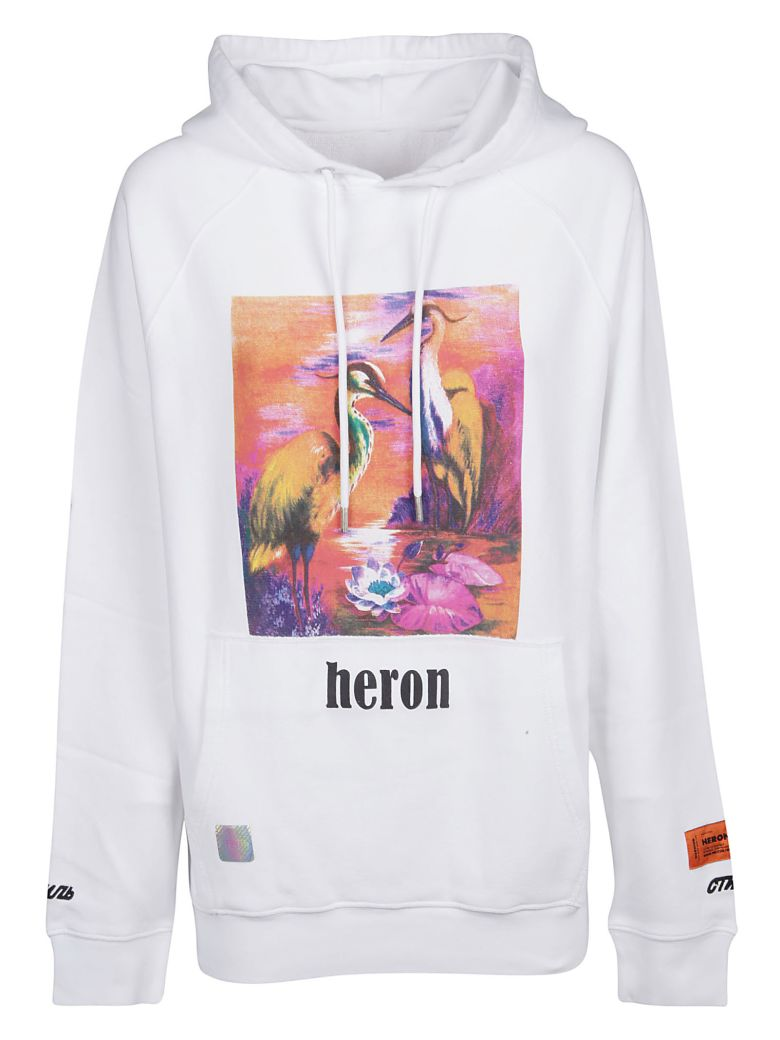 HERON PRESTON Printed Hoodie - White Mutlicolor