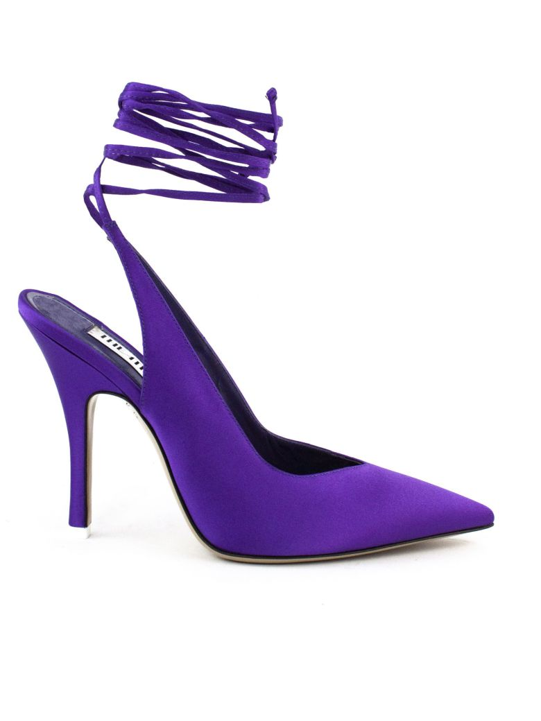 The Attico Slingback In Purple Satin - Violet