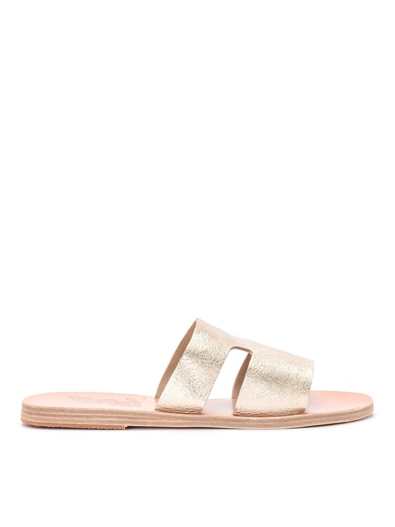 Ancient Greek Sandals Apteros Platinum Leather Slippers - ORO